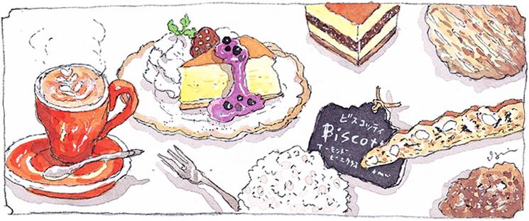 併設のカフェでは、焙煎のあたたかな香り漂う空間で、ゆったりとおくつろぎ頂けます。珈琲のお供には、ケーキやクッキーなどの、自家製スイーツをご一緒にどうぞ。